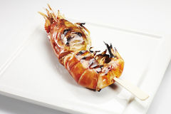 Jumbo shrimp on stick Stock Photos