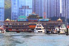 Jumbo som svävar restaurangen, Hong Kong Royaltyfri Foto