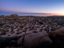 Jumborotsen na zonsondergang n Joshua Tree National Park royalty-vrije stock afbeelding