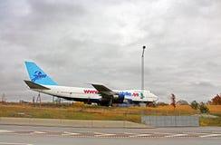 JumboStay är det unika vandrarhemmet byggd insida per decommissioned Boeing 747-200, Sverige Arkivfoto