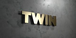 Jumeau - signe d'or monté sur le mur de marbre brillant - illustration courante gratuite de redevance rendue par 3D Photos libres de droits