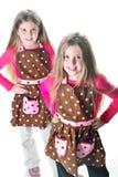 Jumeaux dans les tabliers photo stock