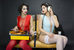 Jumeaux de disco de Beautful Photos stock