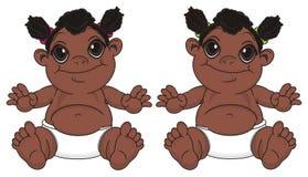 Jumeaux des filles de bébés de nègre illustration libre de droits