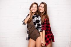 Jumeaux heureux posant ensemble Images libres de droits