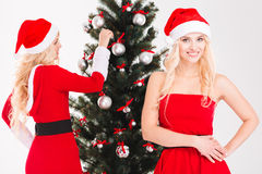 Jumeaux satisfaits avec du charme de soeurs décorant l'arbre de Noël Image libre de droits