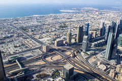 Jumeira district view from Burj Khalifa tower Royalty Free Stock Photo