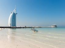 Jumeirah海滩和Burj Al阿拉伯旅馆在迪拜 免版税库存图片