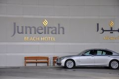 Jumeirah Bach Hotel and BMW car Stock Photography