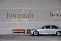 Jumeirah Bach Hotel and BMW car Stock Photography