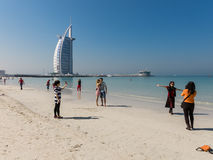 Jumeirah Beach and Burj al Arab Hotel in Dubai Stock Photo