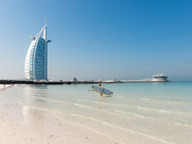 Jumeirah Beach and Burj al Arab Hotel in Dubai Royalty Free Stock Images