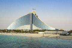 Jumeirah Beach Hotel, luxury Hotel with privat beach , Dubai, UAE royalty free stock images