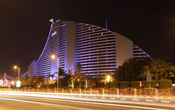 Jumeirah Beach Hotel at night Royalty Free Stock Photo