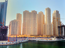 Jumeirah Beach Residence. A view of some of the towers of JBR in Dubai royalty free stock images