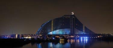 Jumeirah Beach Resort. And light mast.  Dubai, United Arabic Emirates Royalty Free Stock Photography