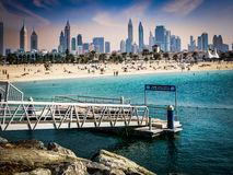 Jumeirah Beach and skyline of Dubai Stock Photo