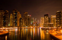 Jumeirah Lake Towers at night Royalty Free Stock Photography