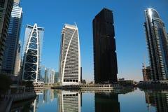 Jumeirah Lakes Towers, Dubai Multi Commodities Centre, UAE. UAE, DUBAI, FEBRUARY 5, 2016: Jumeirah Lakes Towers, Dubai multi commodities centre, United Arab royalty free stock photography