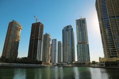 Jumeirah Lakes Towers, Dubai Multi Commodities Centre, UAE. UAE, DUBAI, FEBRUARY 5, 2016: Jumeirah Lakes Towers, Dubai multi commodities centre, United Arab stock images