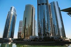 Jumeirah Lakes Towers, Dubai Multi Commodities Centre, UAE. UAE, DUBAI, FEBRUARY 5, 2016: Jumeirah Lakes Towers, Dubai multi commodities centre, United Arab royalty free stock photos