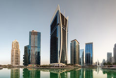 Jumeirah Lakes Towers in Dubai, United Arab Emirates. Western view of the Cluster V buildings, Jumeirah Lake Towers & x28;Goldcrest Views tower in centre& x29 Stock Photo