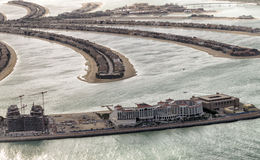 Jumeirah Palm Island from helicopter in Dubai Stock Photo