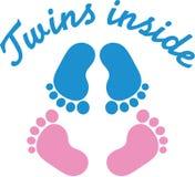 Jumelle des empreintes de pas de bébé illustration de vecteur