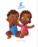 Jumelle le signe d'horoscope Garçon et fille de deux de bande dessinée bébés d'afro-américain se jouant Image libre de droits