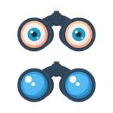 Jumelles avec l'icône de yeux Images libres de droits