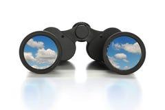 Jumelles avec l'image des nuages Photographie stock libre de droits