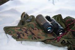 Jumelles dans la neige Photographie stock
