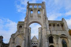 Jumieges Abbey. A skeleton of a gothic cathedral stock images