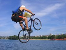 Jump. Bike jump in lake in Belgrade Stock Image