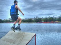 Jump. Roller jump in lake in Belgrade Stock Photo