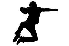 Jump. Black silhouette of a jumping man Stock Photos