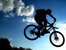 Jump!. Jump with a mountain bike Royalty Free Stock Images