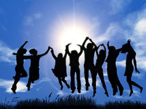 Jump. Silhouette of a group of young people jumping with sky background stock illustration