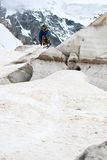 Jump. Freerider jumping in a mountains, Caucasus, Elbrus, summer Stock Images