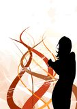 Jump. Silhouette of a girl with abstract background and circles Stock Images