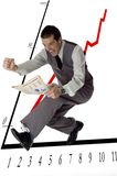Jump. Business men jumping with newspaper in hands on white- success concept Royalty Free Stock Image