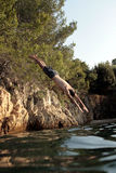 Jump. Ing in the Adriatic sea Stock Image