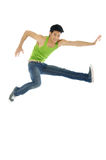 Jump. 1 Asian man jumping up in the air Stock Photography