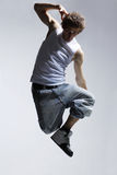 Jump. Stylish and cool breakdancer jumping Stock Photos
