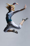 Jump. Stylish and cool looking breakdancer jumping Royalty Free Stock Photo