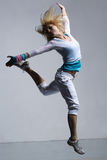 Jump. Stylish and cool looking breakdancer jumping Royalty Free Stock Image