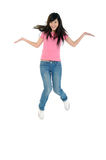 Jump. Asian young adult jumping in the air Stock Photos