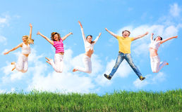 Jump. Of a group of people Royalty Free Stock Images