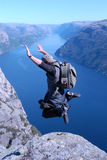 Jump. Of the person on a background of fjords Stock Photography