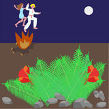 Jump across the fire and blooming fern. On midsummer`s holiday girls with guys jump across the fire holding their hands at midnight Stock Photography